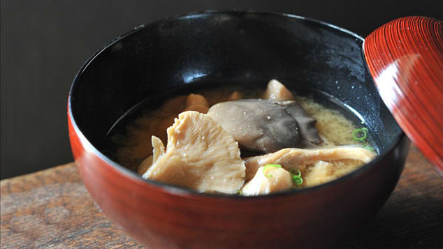 Japan food15 Nagano mushroom miso soup ©Tourism Commission of Hakuba Village:©JNTO