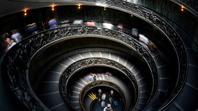 Bramante Staircase -- a double helix that allows traffic to flow both ways.