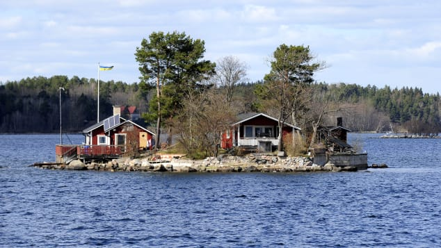 A little island with a private summer house is pictured in the archipelago of Stockholm.
