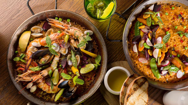 Paella, Spain's signature dish.