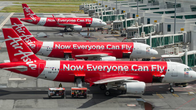 Low-cost air travel is provided by AirAsia.