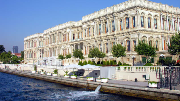 The stunning exterior of Istanbul's Ciragan Palace Hotel.
