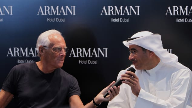 Armani Hotel is a collaboration between fashion designer Giorgio Armani, left, and Emaar Properties chairman Mohammed al-Abbar, right.