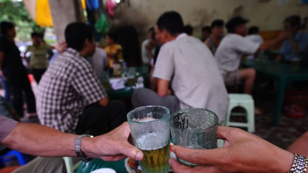 Bia hoi, Vietnam's draft beer, is the go-to refreshment on Ta Hien Street.