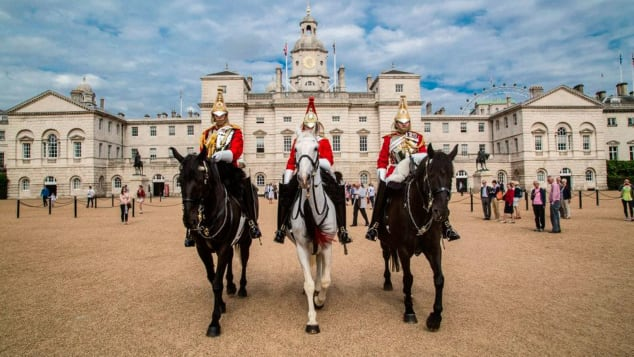 Queen's mounted guard at Horse Guards Parade Credit Household Cavalry Museum