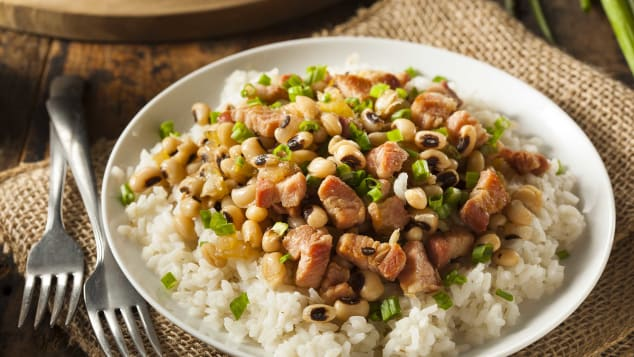 Field peas or black-eyed peas are the base for Hoppin' John.