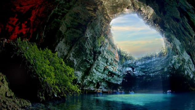 The stunning turquoise lake of Melissani has an unusual underground location.