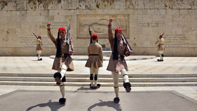 "Athens' ""Changing of the Guard"" is a big tourist attraction."