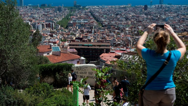 Barcelonians have been protesting against tourist overcrowding.