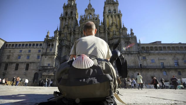 The Santiago de Compostela Cathedral is at the end of the Camino de Santiago, the Way of Saint James.