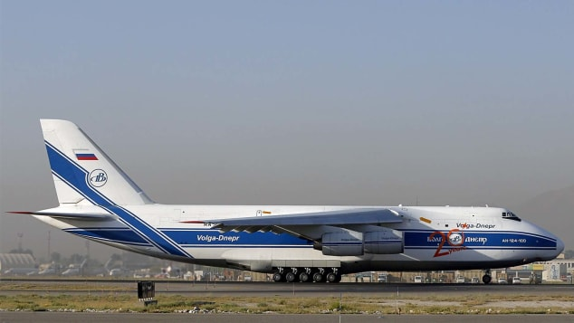 An Antonov AN 124-100 freight aircraft takes off after loading freight at the Kabul International airport, in Kabul, on August 19, 2012. France is the fifth largest contributor to NATO's International Security Assistance Force (ISAF), which is due to pull out the vast majority of its 130,000 troops by the end of 2014. AFP PHOTO / ALEXANDER KLEIN (Photo credit should read ALEXANDER KLEIN/AFP/GettyImages)