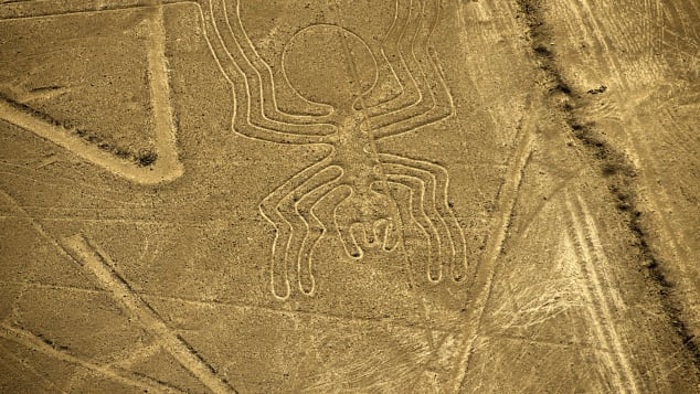 An aerial view of the Spider geoglyph, part of the mysterious Nazca Lines in Peru.