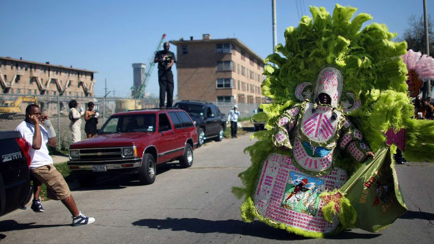 The Mardi Gras Indians pay homage to Native Americans who helped escaped slaves in the 1800s.