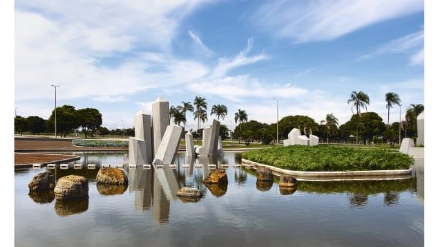 These gardens are havens for busy city-dwellers. Pictured here: Praça cívica do Quartel General do Exército, Praça dos Cristais, Brazil