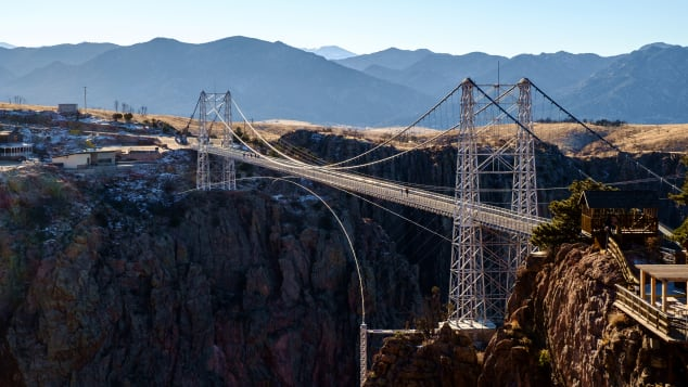 Colorado's Royal Gorge Bridge is suspended 956 feet over the Arkansas River.