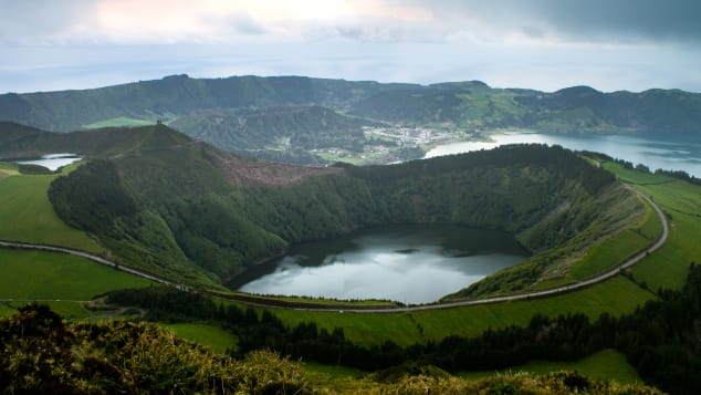 Lagoa das Sete Cidades is a twin lake situated in the crater of a dormant volcano in the Azores archipelago.