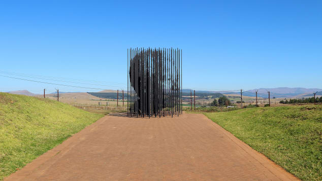A memorial to Nelson Mandela sits in Howick, South Africa at the site where the activist was captured in 1962.