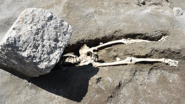 The body of a victim fleeing the eruption was discovered during the new excavations