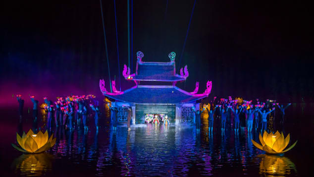 The Quintessence of Tonkin show takes place nightly, about 40 minutes outside of Hanoi.
