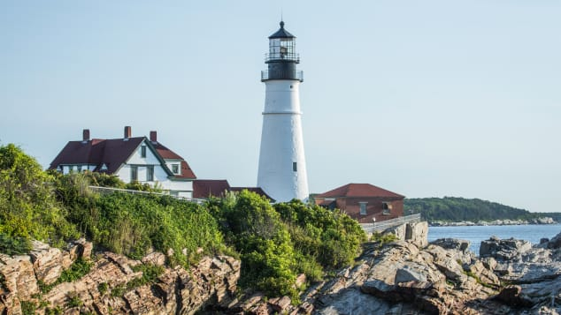 Cape Elizabeth Lighthouse -- two light towers located about 300 yards apart.