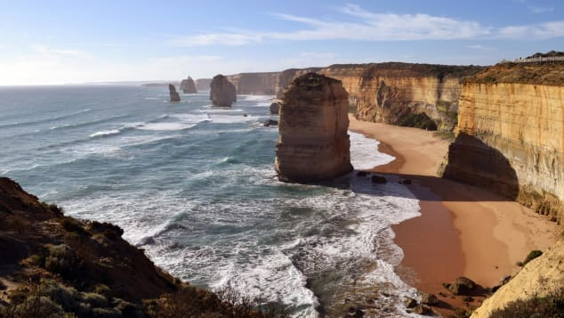 The 12 Apostles -- a collection of limestone stacks located along the Great Ocean Road.