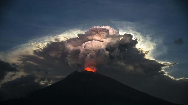 Mount Agung's eruption led to more than 300 flights being canceled.