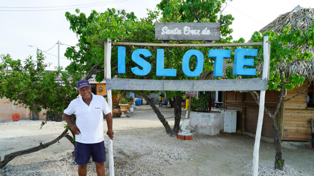 Juve Nal acts as a tour guide and unofficial spokesman for the Colombian island of Santa Cruz.