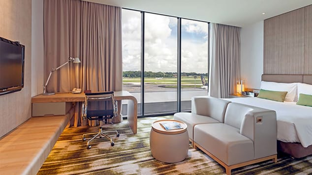 Runway view rooms at Singapore Changi's Crowne Plaza combine luxury with the best vantage point at the airport. (Crowne Plaza Changi Airport)
