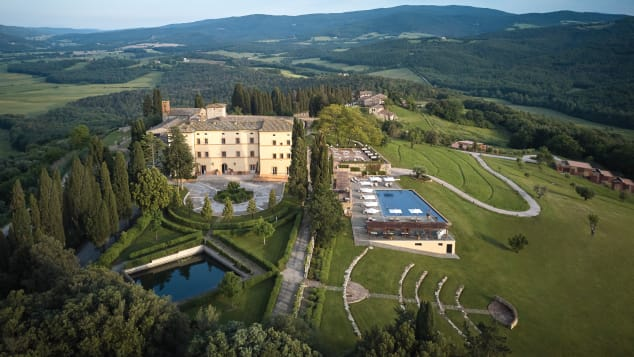The Belmond Castello Di Casole is built from the ruins of a 10th century castle.