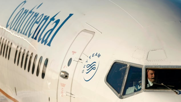 A Continental Airlines plane.