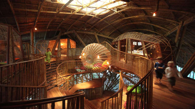 The Den is a manta ray-shaped bamboo playground.