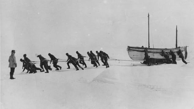 After-losing-the-Endurance,-Shackleton's-crew-tried-to-drag-the-lifeboats-across-the-ice----courtesy-Getty