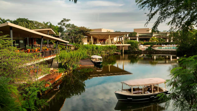 Rosewood Mayakoba and the other resorts are connected by a network of canals and lagoons.