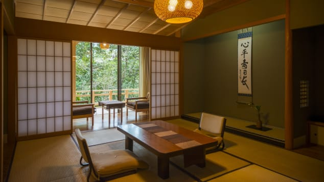 Kaiseki, multi-course haute cuisine, is served in the guestrooms or in private dining rooms each night. At Kayotei, the ingredients are hyper-local, and dishes are presented as works of art.