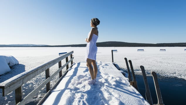 The world's happiest country likes ice swimming.