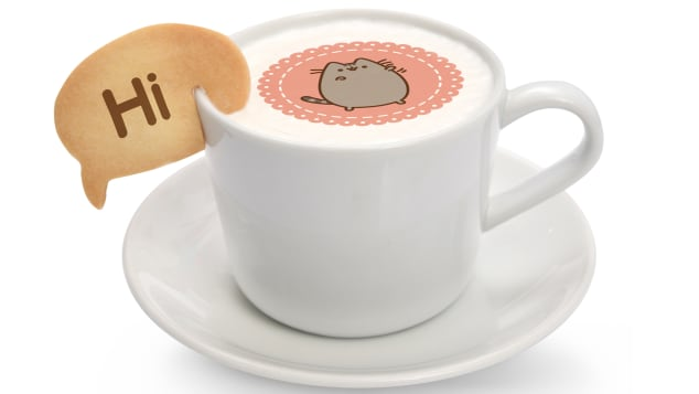 Drinks include lattes and hot cocoas with Pusheen's face on them | Kumoya