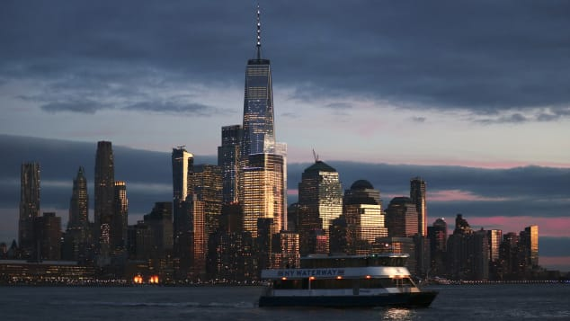 The skyline of lower Manhattan and One World Trade Center in New York City.