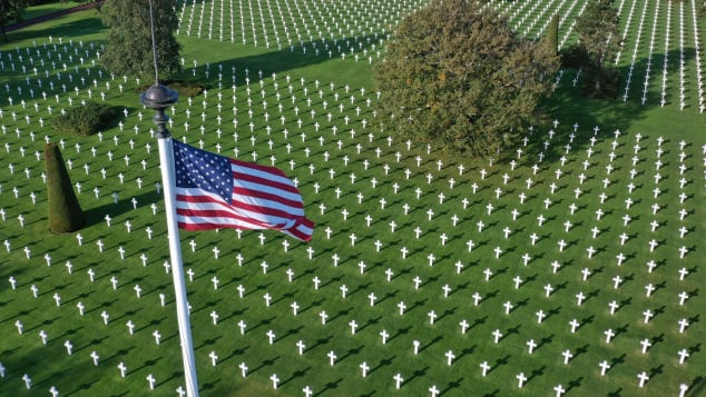 Normandy American Cemetery, close to Omaha beach in Colleville-sur-Mer