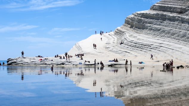 The Scala dei Turchi is formed by marl, a sedimentary rock with a characteristic white color.