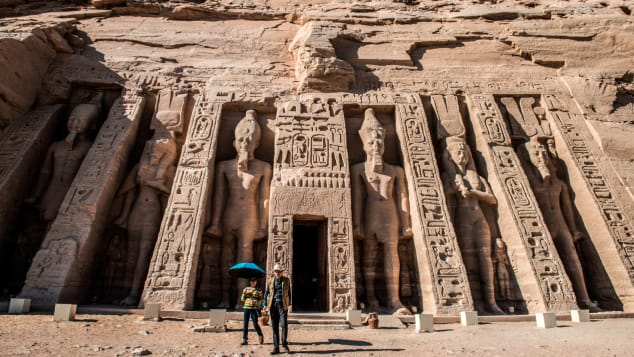 The ancient Egyptian temple of Abu Simbel stands on the shores of Lake Nasser.