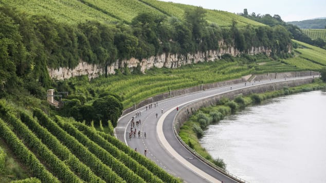 Luxembourg's comprehensive public transport system runs through the whole country. A cycling race in the Moselle region is pictured.