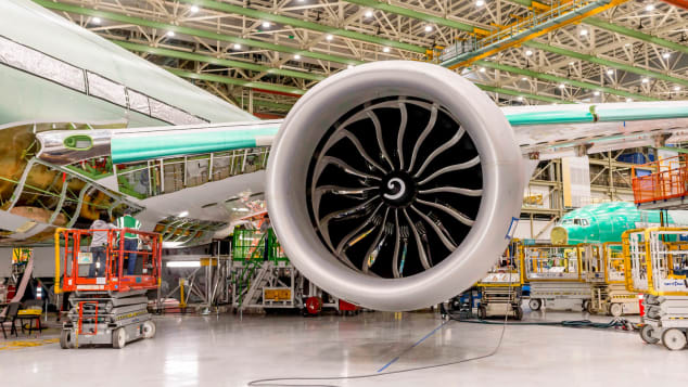 The powerful engine of the Boeing 777X.