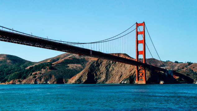 The iconic Golden Gate Bridge provides glorious views from all over the city on clear days.