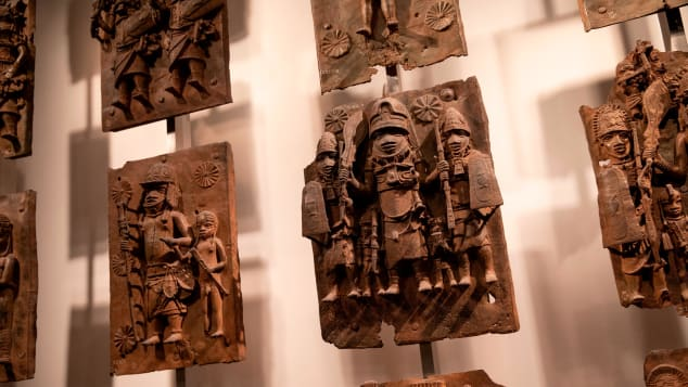 Plaques forming part of the Benin Bronzes on display at the British Museum.