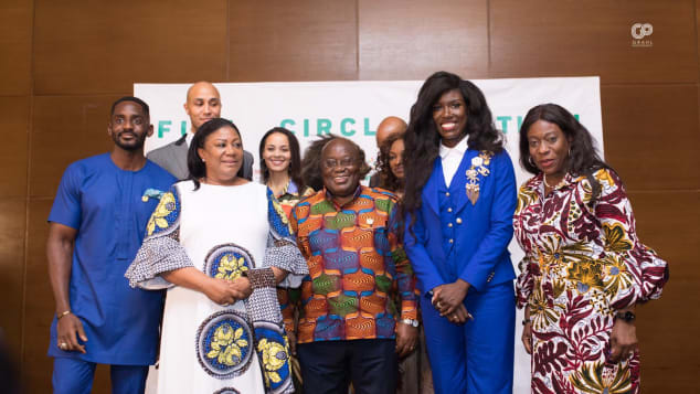 Ghanaian president Nana Akufo-Addo and wife Rebbeca pose with attendees at the Full Circle Festival.