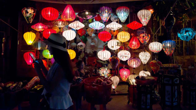 The old town area of Hoi An, lit with glowing lanterns