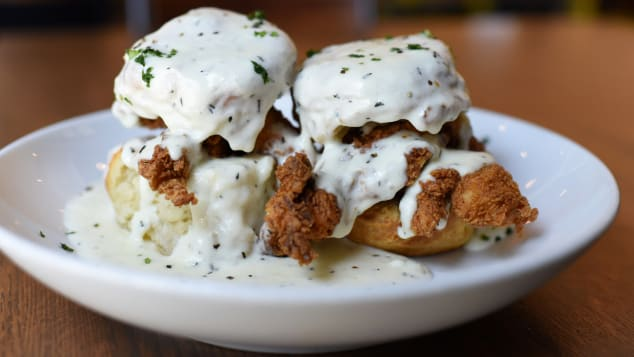 Dish Society in the recently opened Finn Hall serves hearty, comfort fare such as chicken and biscuits with gravy.