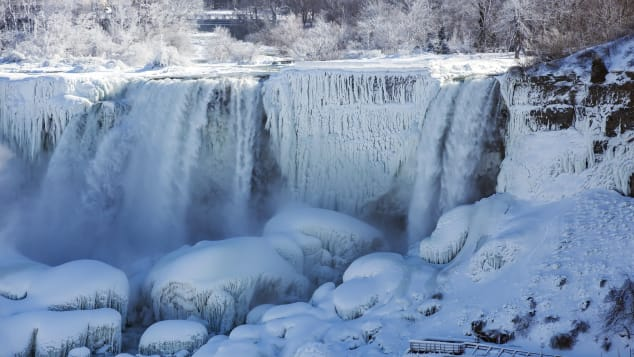 An 'ice bridge' at the bottom of the falls forms when ice chunks pop up and out of the pool, creating a glacier 80-100 feet thick.
