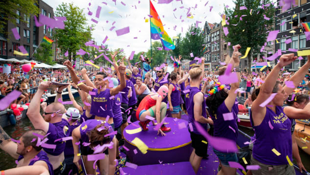 Amsterdam Gay Pride hosts the Canal Parade, an annual parade on boats throughout the canal.