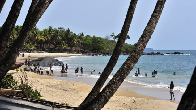 Tokeh beach near Freetown has bone-white sand.